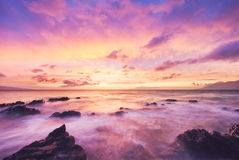 美好日落海海滩发光 图库摄影