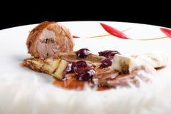 美好用餐,食家主要进入路线烤了羊羔牛排 免版税库存照片