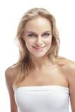 美好白肤金发女孩微笑 库存图片