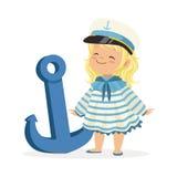 美好白肤金发小女孩字符佩带水手在蓝色船锚五颜六色的传染媒介旁边打扮身分 库存照片