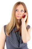 美好白肤金发电池女孩电话联系 免版税库存照片