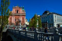 美好的三倍桥梁和Preseren广场,卢布尔雅那,斯洛文尼亚 免版税图库摄影