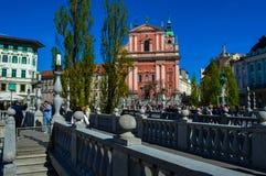 美好的三倍桥梁和Preseren广场,卢布尔雅那,斯洛文尼亚 库存照片