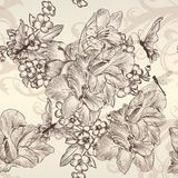 美好的与花的传染媒介无缝的墙纸在葡萄酒styl 免版税库存图片