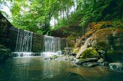 美好的乡下绿色 在一条河的瀑布有大岩石的和落叶林绿化风景 库存照片