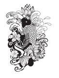 美好的乱画艺术Koi鲤鱼纹身花刺设计 库存图片
