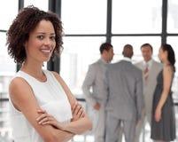 美好的企业微笑的小组妇女 免版税库存图片