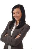 美好的企业smileing的妇女年轻人 免版税库存照片