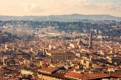 美好的佛罗伦萨日落城市地平线 佛罗伦萨全景, I 免版税库存照片