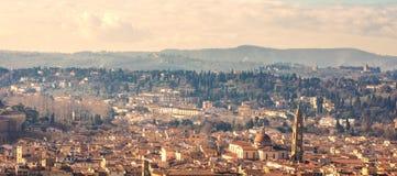 美好的佛罗伦萨日落城市地平线 佛罗伦萨全景, I 库存图片
