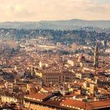 美好的佛罗伦萨日落城市地平线 佛罗伦萨全景, I 免版税库存图片