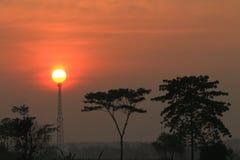 美好的例证草甸本质正春天晴朗的日出 库存照片