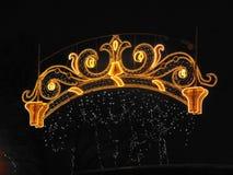 美好的假日光在夜城市 免版税图库摄影