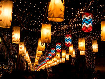美好的光在城市在晚上,曼谷,泰国 库存图片
