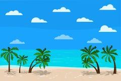 美好的全景蓝色海风景:镇静海洋,棕榈树,云彩,沙子海岸线,传染媒介例证异乎寻常热带 向量例证
