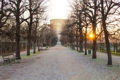 美好的公园日落,没有雪的冬天 库存照片