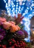 美好的关闭花花束隔绝与蓝色boke 图库摄影