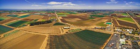 美好的农业地区空中全景在澳大利亚 免版税库存照片