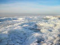 美好的冬天在波罗的海海岸,立陶宛冰 库存照片