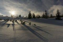 美好的冬天山风景 Tatry 波兰 免版税库存图片