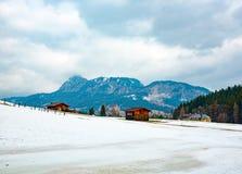 美好的冬天风景在奥地利 免版税库存图片
