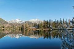 美好的冬天风景高Tatras, Strbske 免版税库存图片