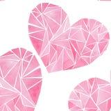 美好的几何珍贵的水晶图表可爱的艺术性的嫩美妙的假日明亮的华伦泰桃红色心脏仿造waterco 免版税库存图片