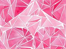 美好的几何珍贵的水晶图表可爱的艺术性的嫩美妙的假日明亮的华伦泰桃红色心脏仿造waterco 免版税图库摄影