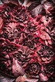 美好的创造性的红色秋天花和叶子布局背景 花卉秋天样式 免版税库存照片