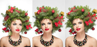 美好的创造性的Xmas构成和发型室内射击 秀丽时装模特儿女孩 冬天 冬天 免版税库存图片