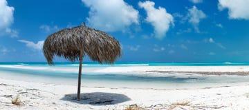 美好的加勒比海滩全景 免版税库存图片