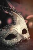 美好的化妆舞会面具照片在美妙的棕色演播室的 图库摄影