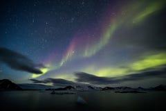 美好的北极光-北极风景 免版税库存图片