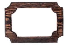 美好的单件木被雕刻的框架,隔绝在白色背景 免版税库存照片