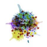 美好的卡片holi节日庆祝五颜六色的背景 免版税库存图片