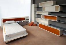 美好的卧室设计内部年轻人 库存图片
