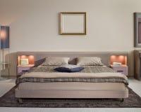美好的卧室设计内部现代 免版税库存照片