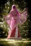 年轻美好的印地安印度新娘跳舞在树下 免版税库存照片