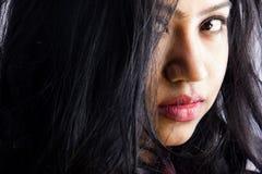 美好的印地安女性模型关闭面孔 库存图片