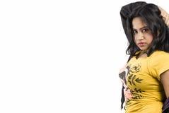 美好的印地安女性模型关闭面孔 免版税库存照片
