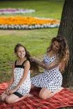 美好的发型 创造性的朋友野餐 免版税库存照片