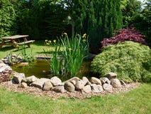 美好的古典庭院鱼池从事园艺的背景 免版税库存照片
