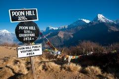 美好的喜马拉雅尼泊尔高峰poonhill视图 图库摄影