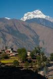 美好的喜马拉雅山尼泊尔视图 免版税库存图片