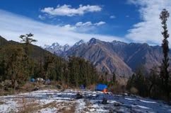 美好的喜马拉雅风景在冬天 库存照片