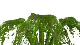 美好的喷泉绿色液体飞溅,在白色背景的喷泉3d与阿尔法铜铍 上升许多汁液的小河 向量例证