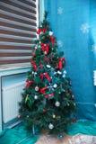 美好的圣诞节例证结构树向量 欢乐装饰室圣诞树的, Xmas家庭室内装璜,玩具,圣诞节deco时髦想法 库存图片