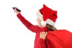美好的圣诞节女孩帽子文字 免版税库存照片