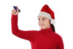 美好的圣诞节女孩帽子文字 库存图片