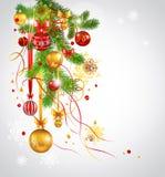 美好的圣诞节装饰了杉树 图库摄影